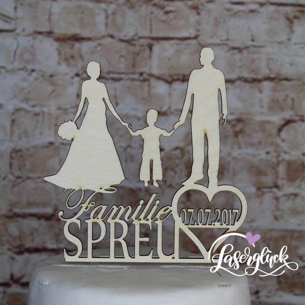 Cake Topper Familie mit Junge Holz