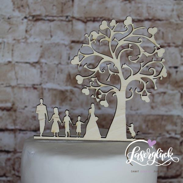 Cake Topper Familie mit Katze unter Baum Holz