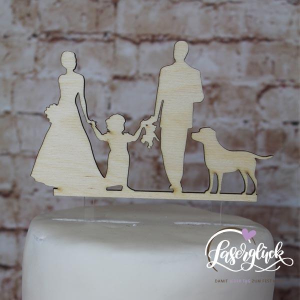 Cake Topper Familie mit Labrador Holz