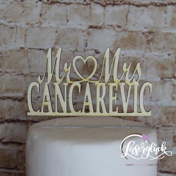 Cake Topper Mr & Mrs mit Nachnamen Holz