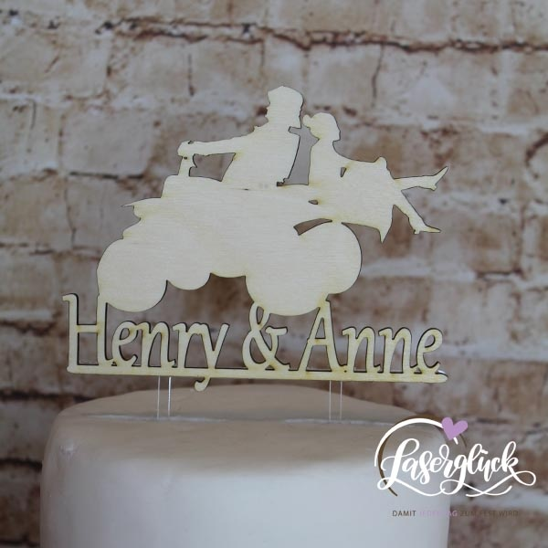Cake Topper Paar auf Quad Holz