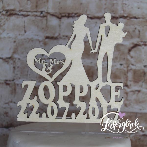 Cake Topper Paar mit Baby und Namen Holz