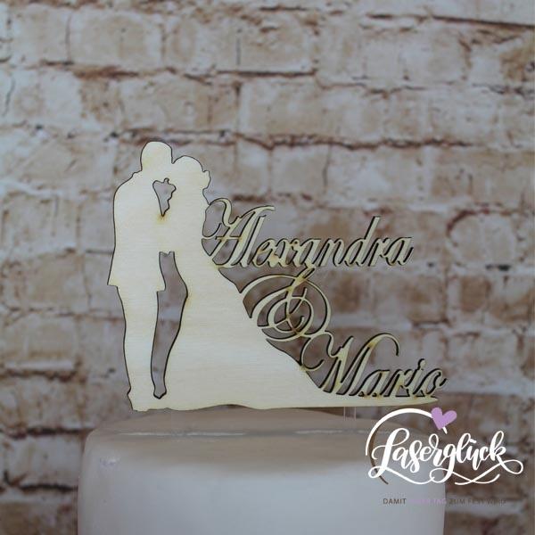 Cake Topper Paar mit Namen Holz