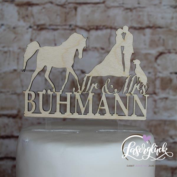 Cake Topper Paar mit Pferd und Hund Holz