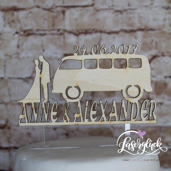 Cake Topper Paar mit VW Bulli Holz