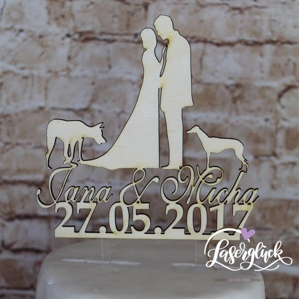 Cake Topper Paar mit Windhunde und Name Holz