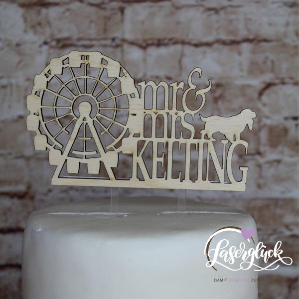 Cake Topper mit Riesenrad Hund und Name Holz