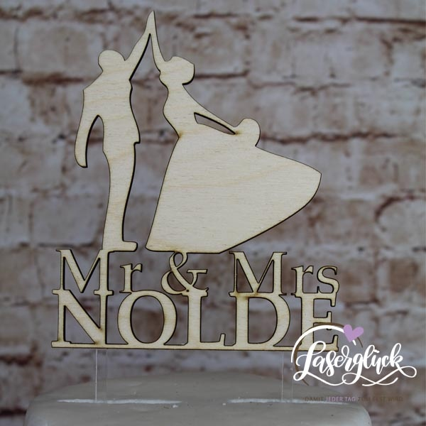 Cake Topper tanzendes Paar mit Name Holz