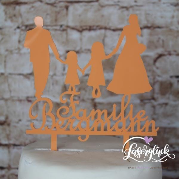 Cake Topper Familie mit 2 Mädchen und Name Orange