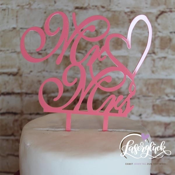Cake Topper Mr & Mrs Rosa
