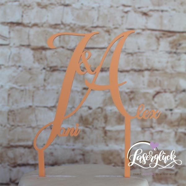 Cake Topper mit Initialen JA Orange