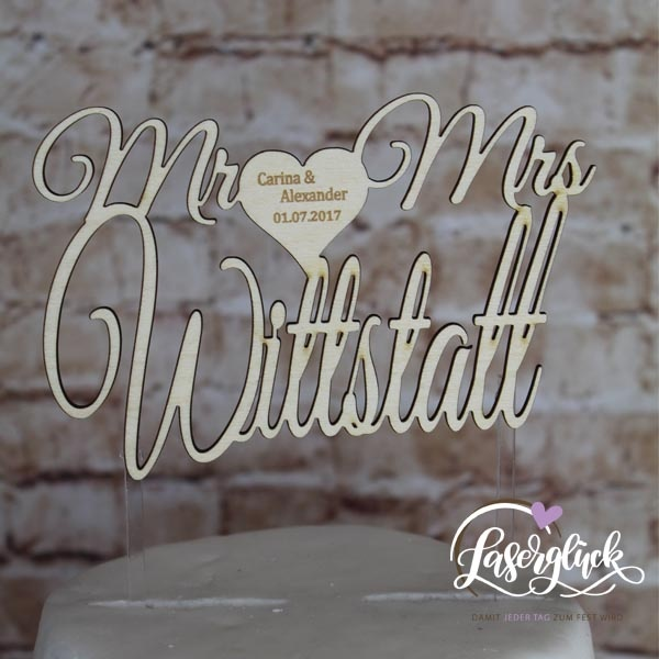 Cake Topper Mr & Mrs mit Namen Holz graviert