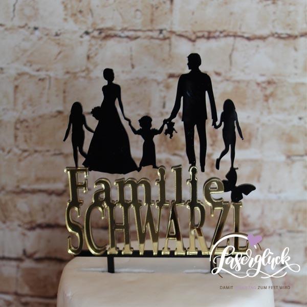 Cake Topper Familie mit 3 Mädchen in Schwarz und Gold verspiegelt