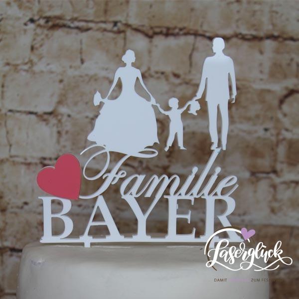 Cake Topper Familie mit Junge in Weiß mit Rosa