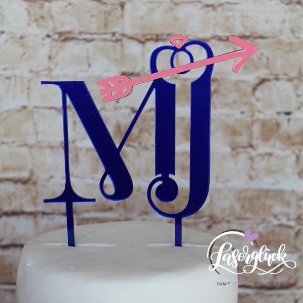 Cake Topper Initialen mit Pfeil in Blau verspiegelt und Rosa