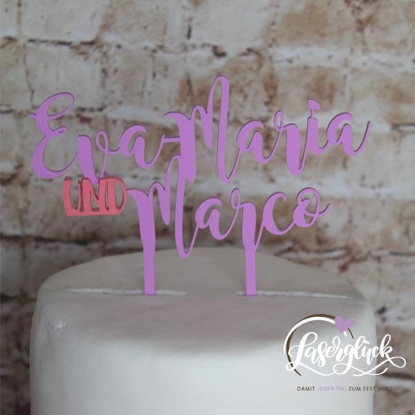 Cake Topper Namen in Purpel und Rosa