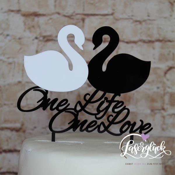 Cake Topper One Life One Love Schwäne in Schwarz und Weiß