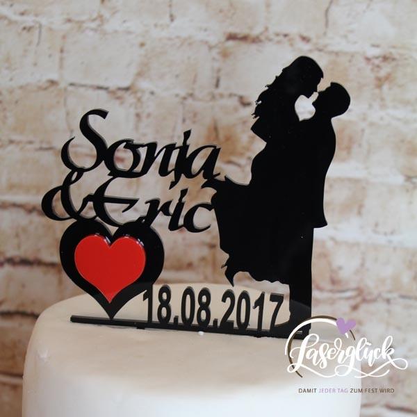 Cake Topper Paar mit Namen in Schwarz und Rot