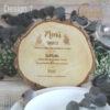 Menü auf Baumscheibe graviert