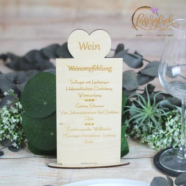 Menükarte Holz Menü und Wein
