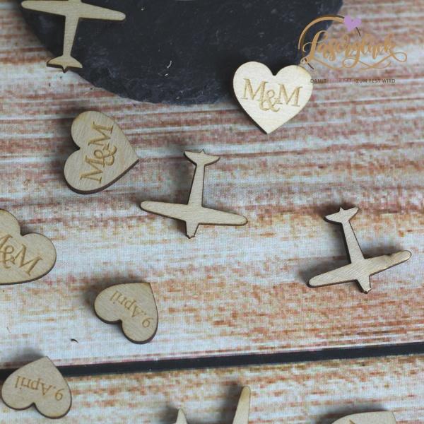 Streudeko Flieger und Herzen