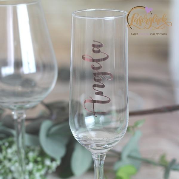 Sektglas beklebt