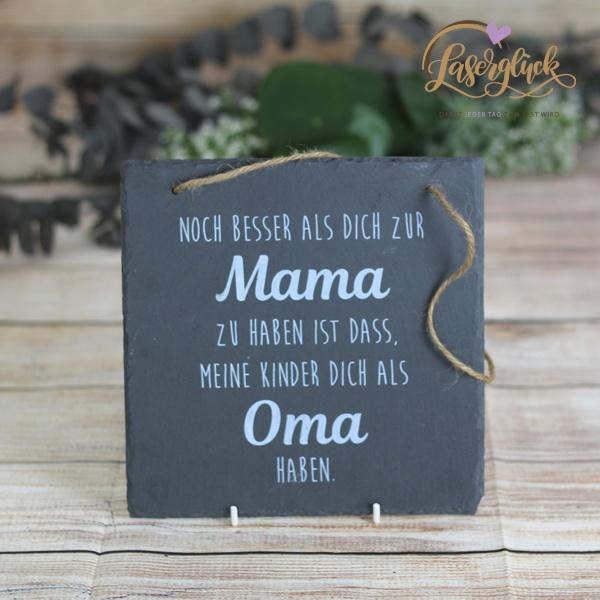 Schiefertafel mit Weißdruck Mama und Oma