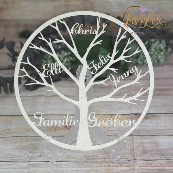 Stammbaum aus Holz rund mit Namen