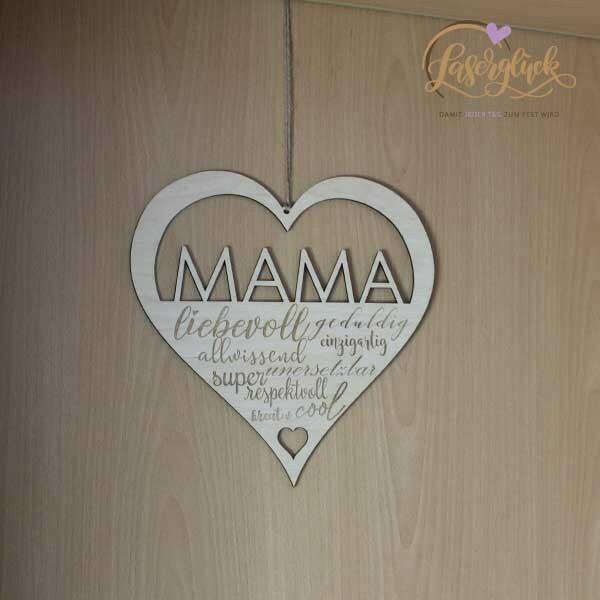Holzherz mit Mamaeigenschaften